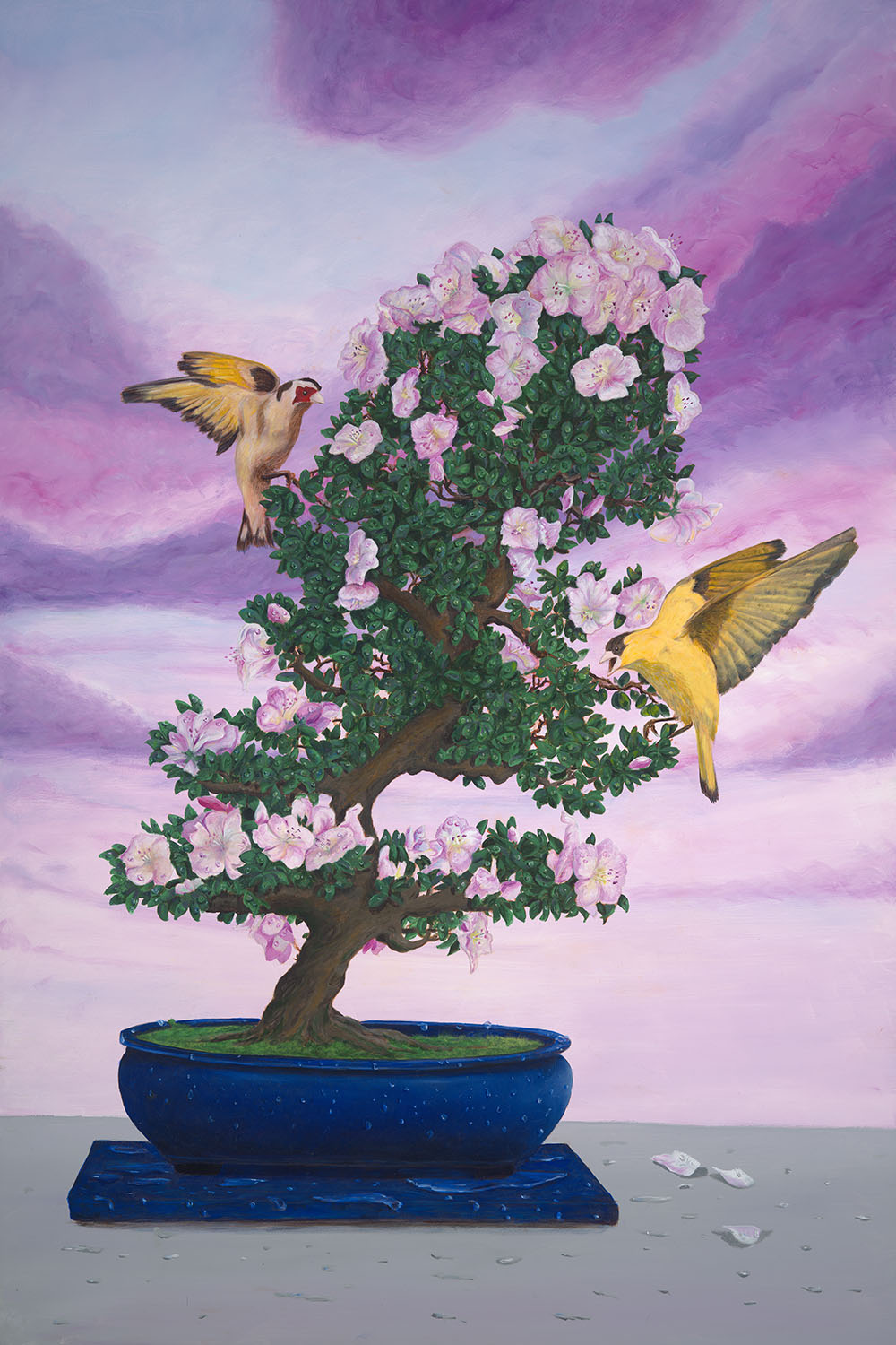 Finches and Pink Plumeria, 24x36