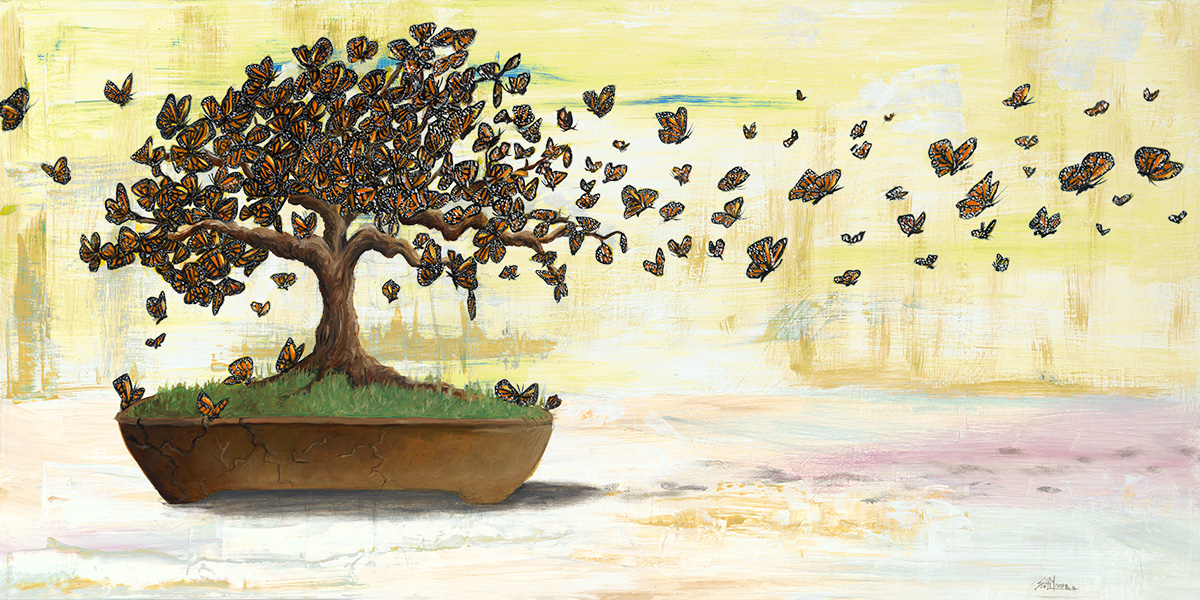 Butterfly Bonsai, Oil on Panel
