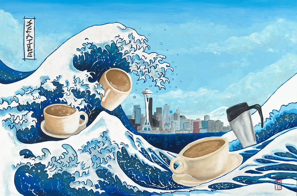 Hokusai's The Great Wave à la Seattle
